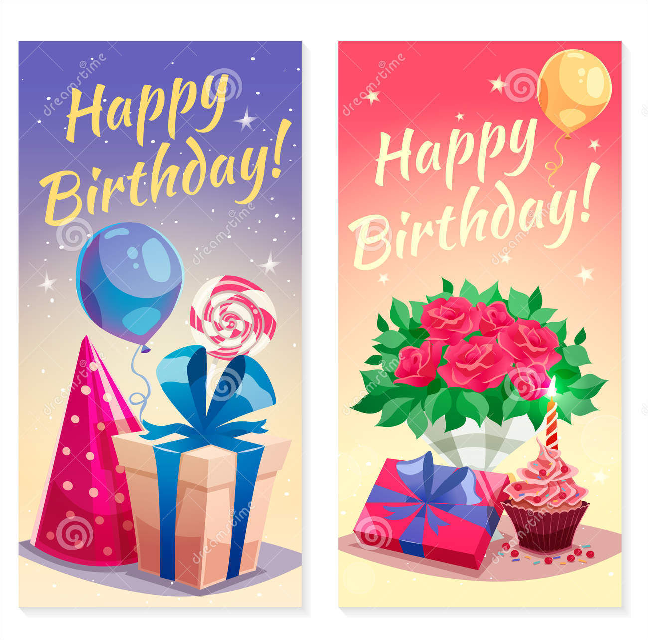 flat birthday party vertical banners