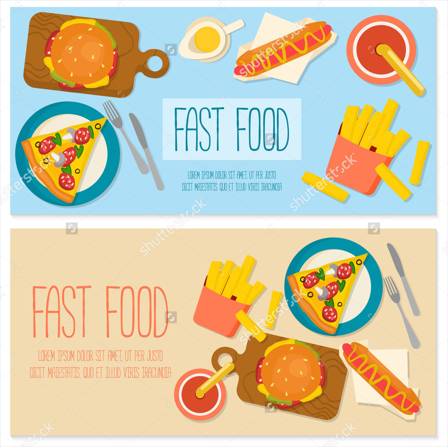 flat design food vector banner