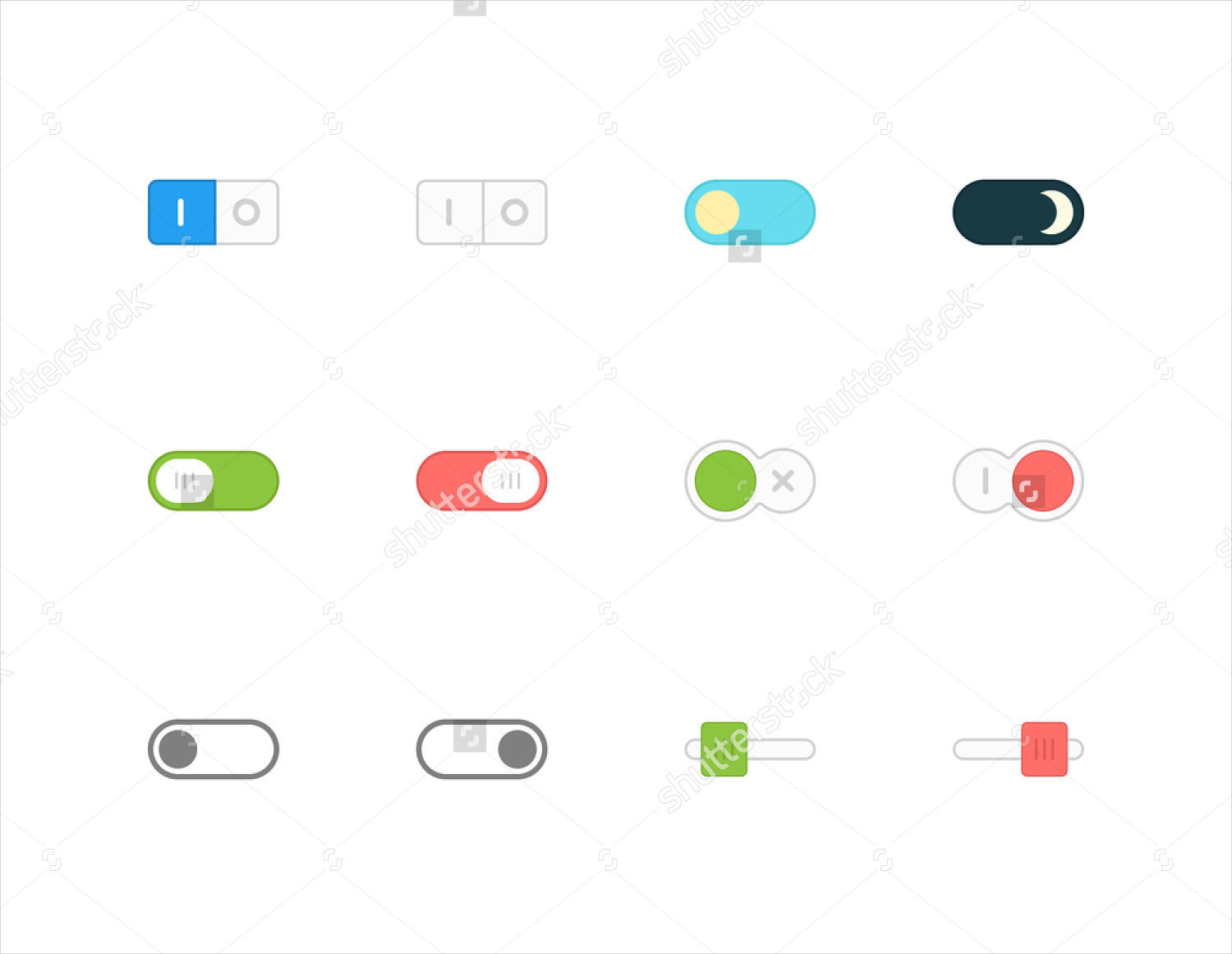 flat design toggle buttons