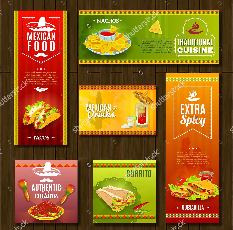 flat food cafe restaurant banners set
