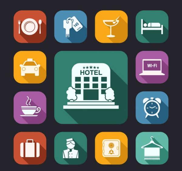 flat hotel icons set