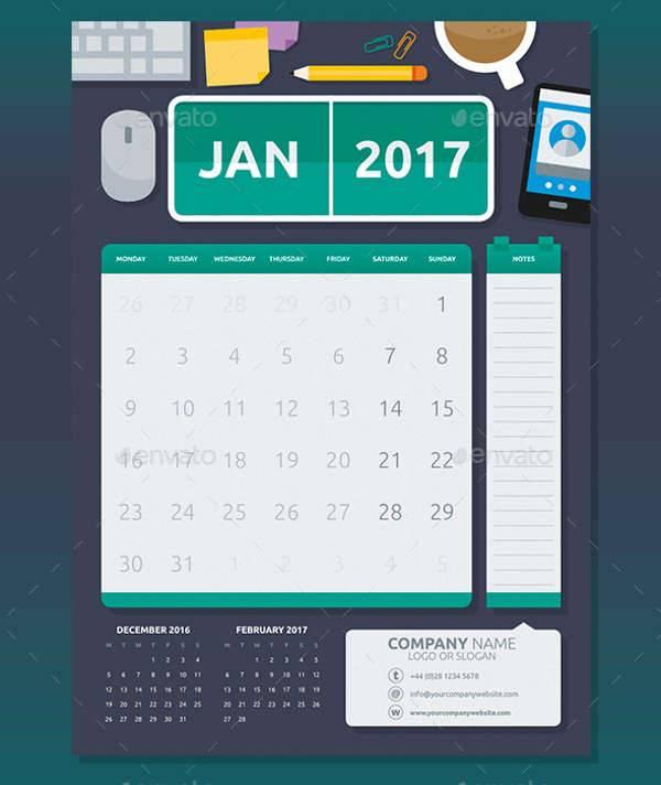 Flat Office Calendar