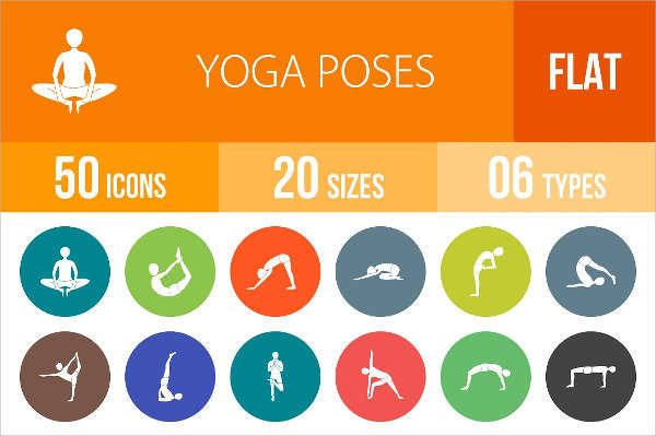 flat round yoga poses icons