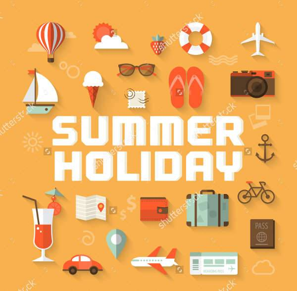 flat summer holiday icons