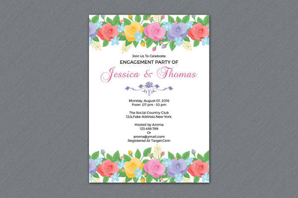 Floral Engagement Invitation Card