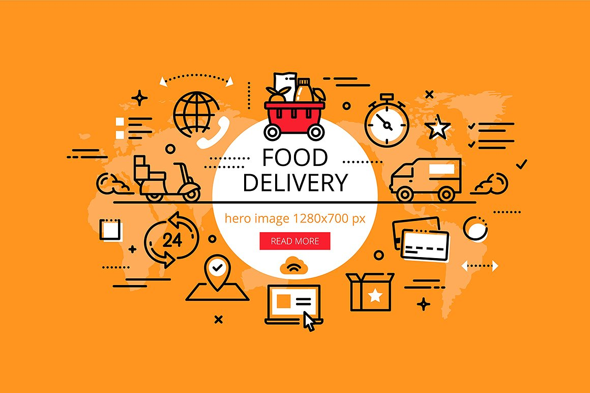 food deliver banner set
