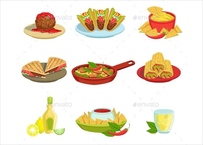 food dishes illustration
