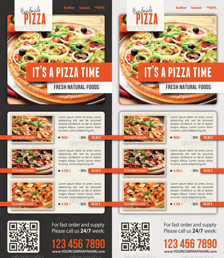 food pizza menu banner template