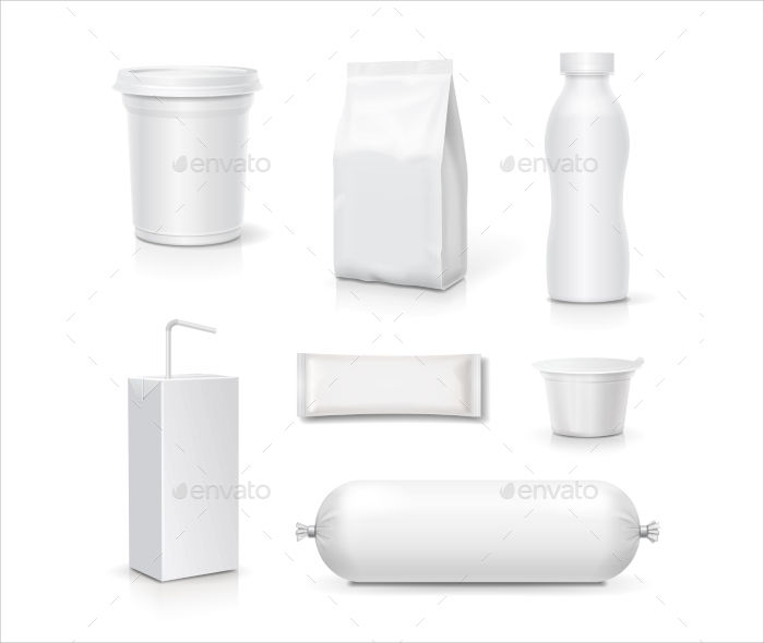 food and drink blank packaging set