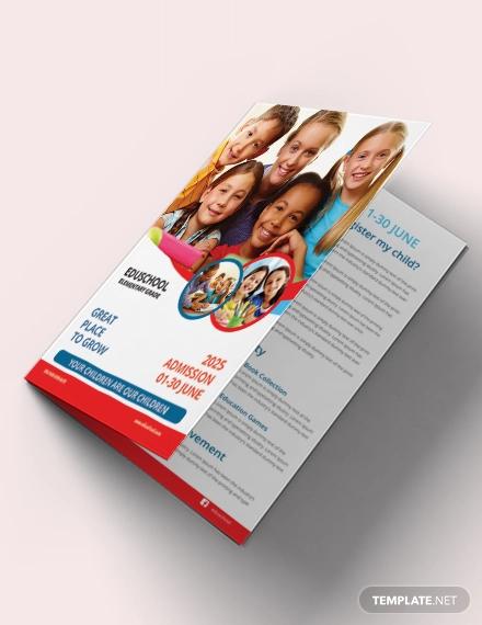 free elementary school education bi fold brochure template