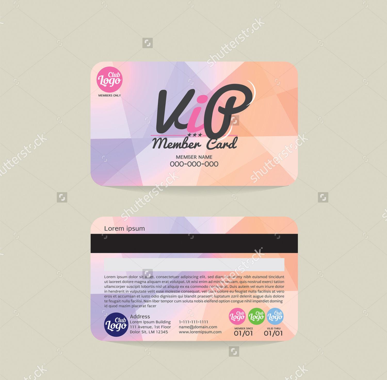 front back vip membership card vector