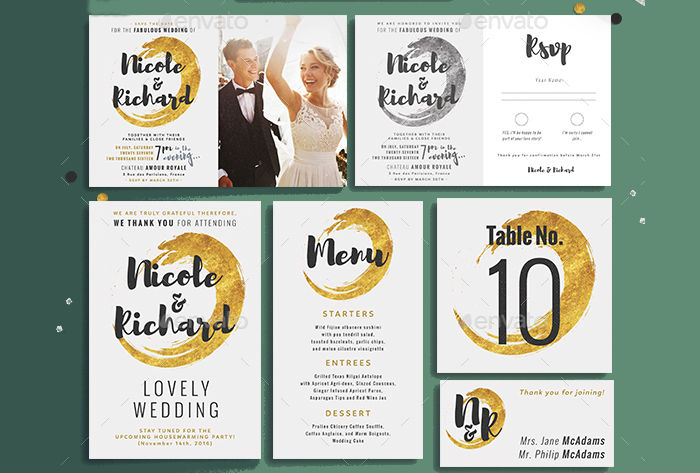 gold foil wedding menu