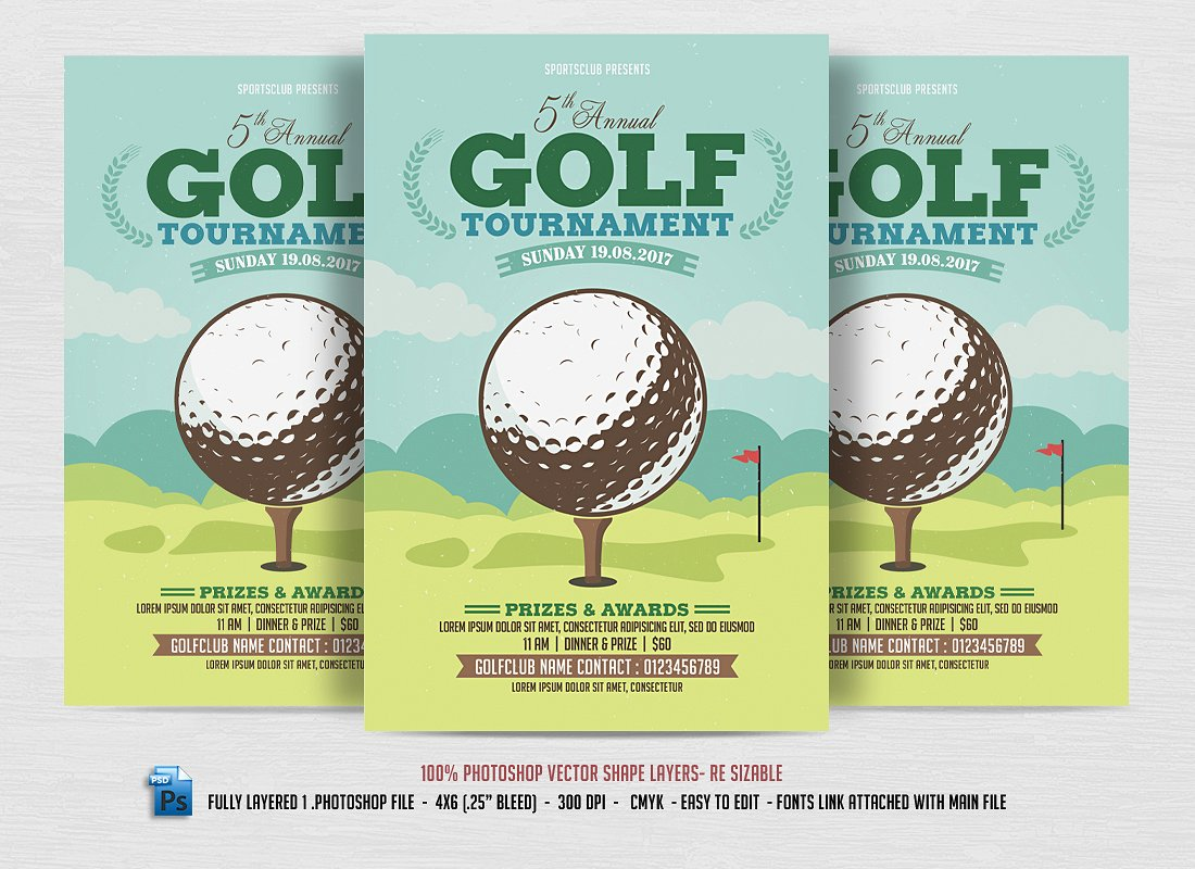 15 sports event flyers design trends premium psd for Golf brochure template