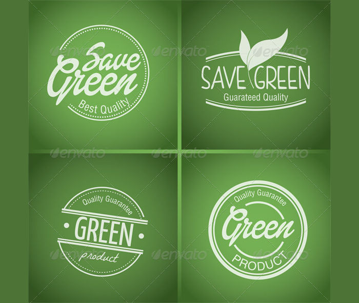 green product label stamp