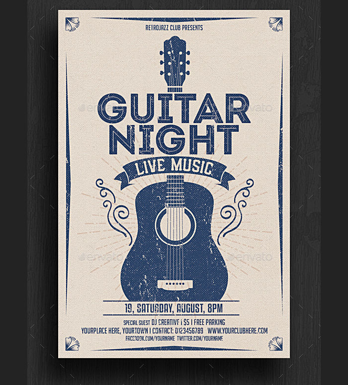 Guitar Night Music Flyer Design