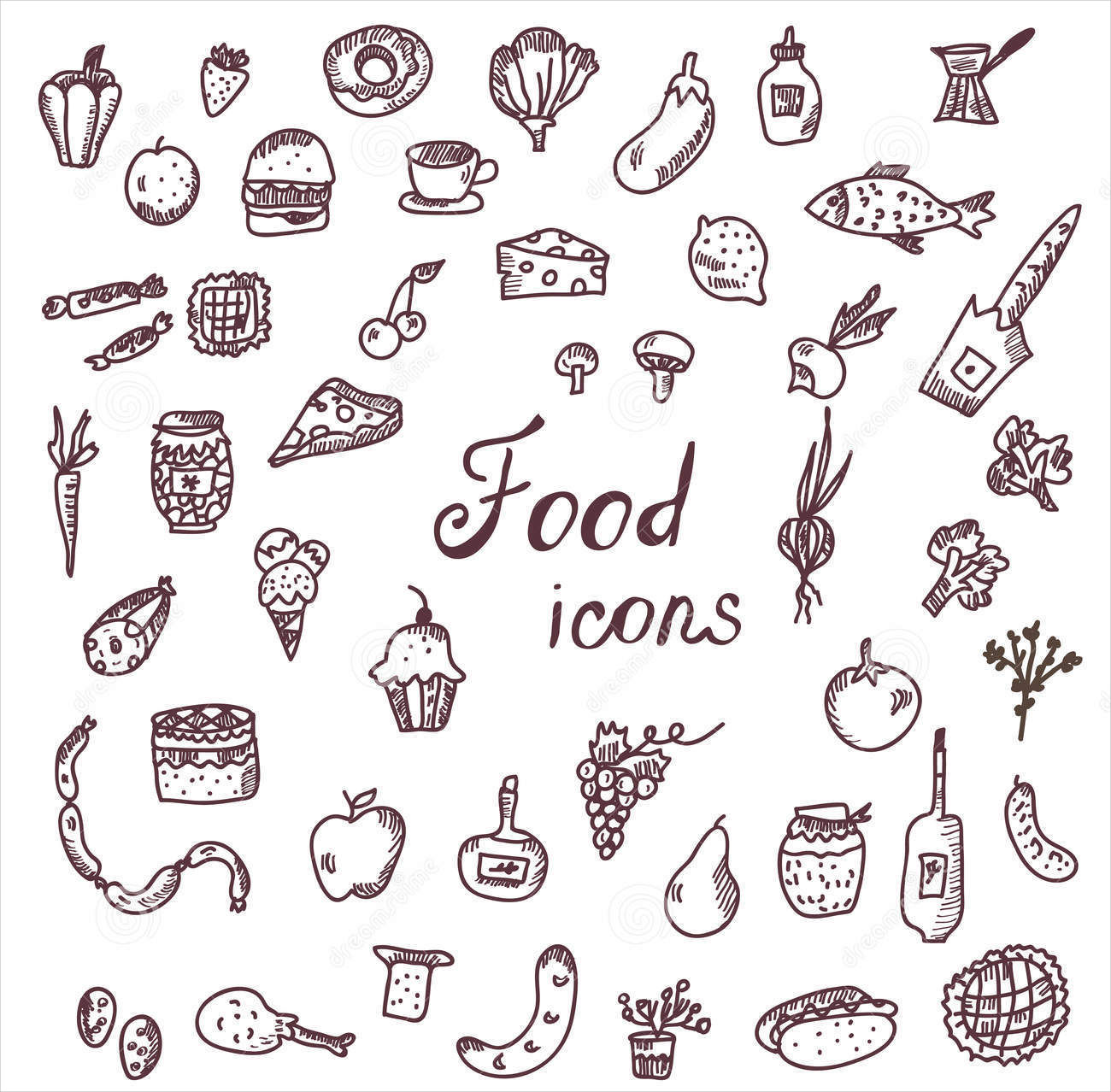 hand drawn food icons
