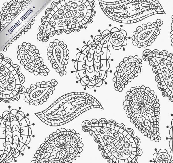 hand drawn paisley patterns