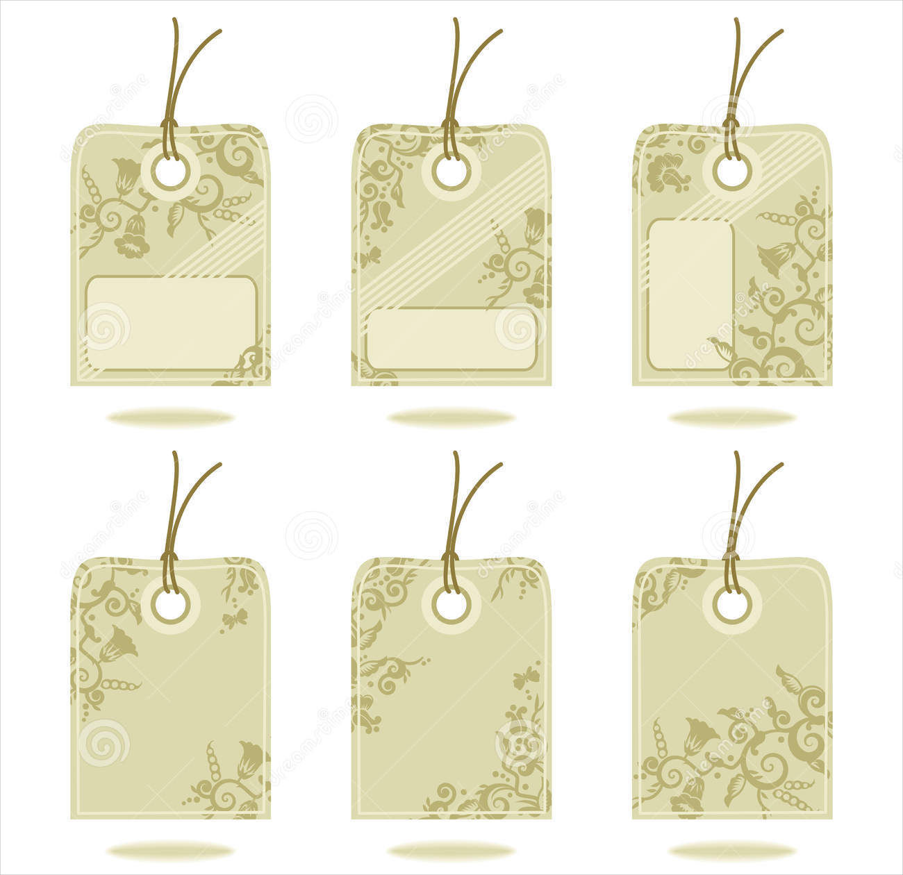 hand tags with floral pattern