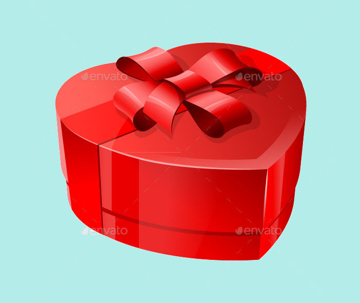 heart shaped package with ribbon
