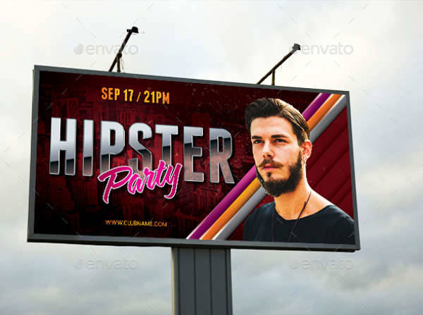 Hipster Party Event Outdoor Banner