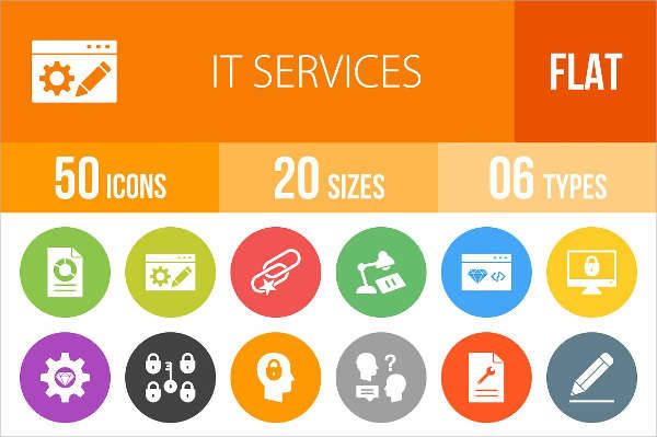 it services flat round icons