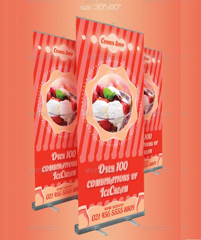 ice cream store outdoor banner