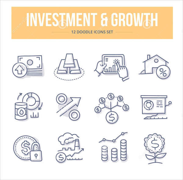 investment growth doodle icons