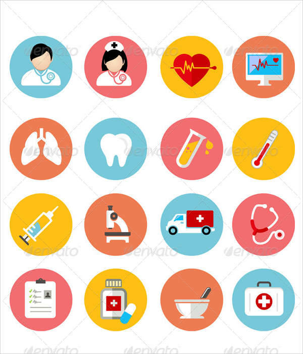 medial health flat icons