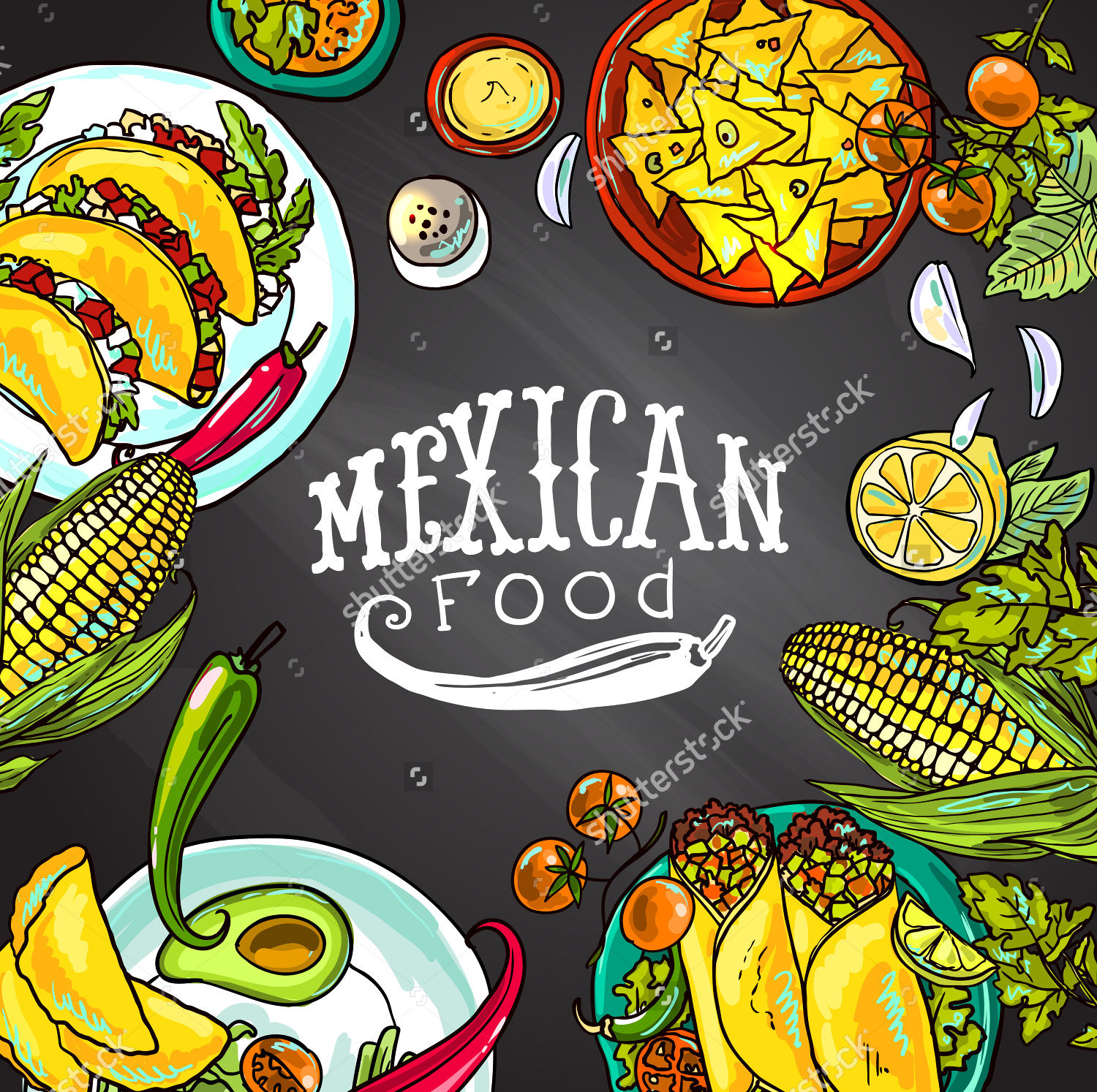 mexican food illustration