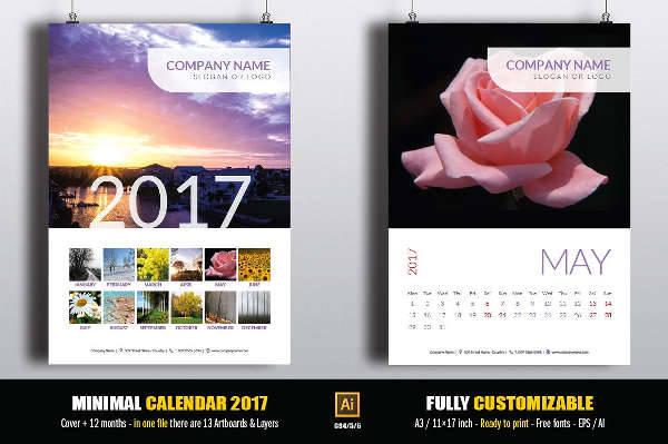 Minimal 2017 Calendar