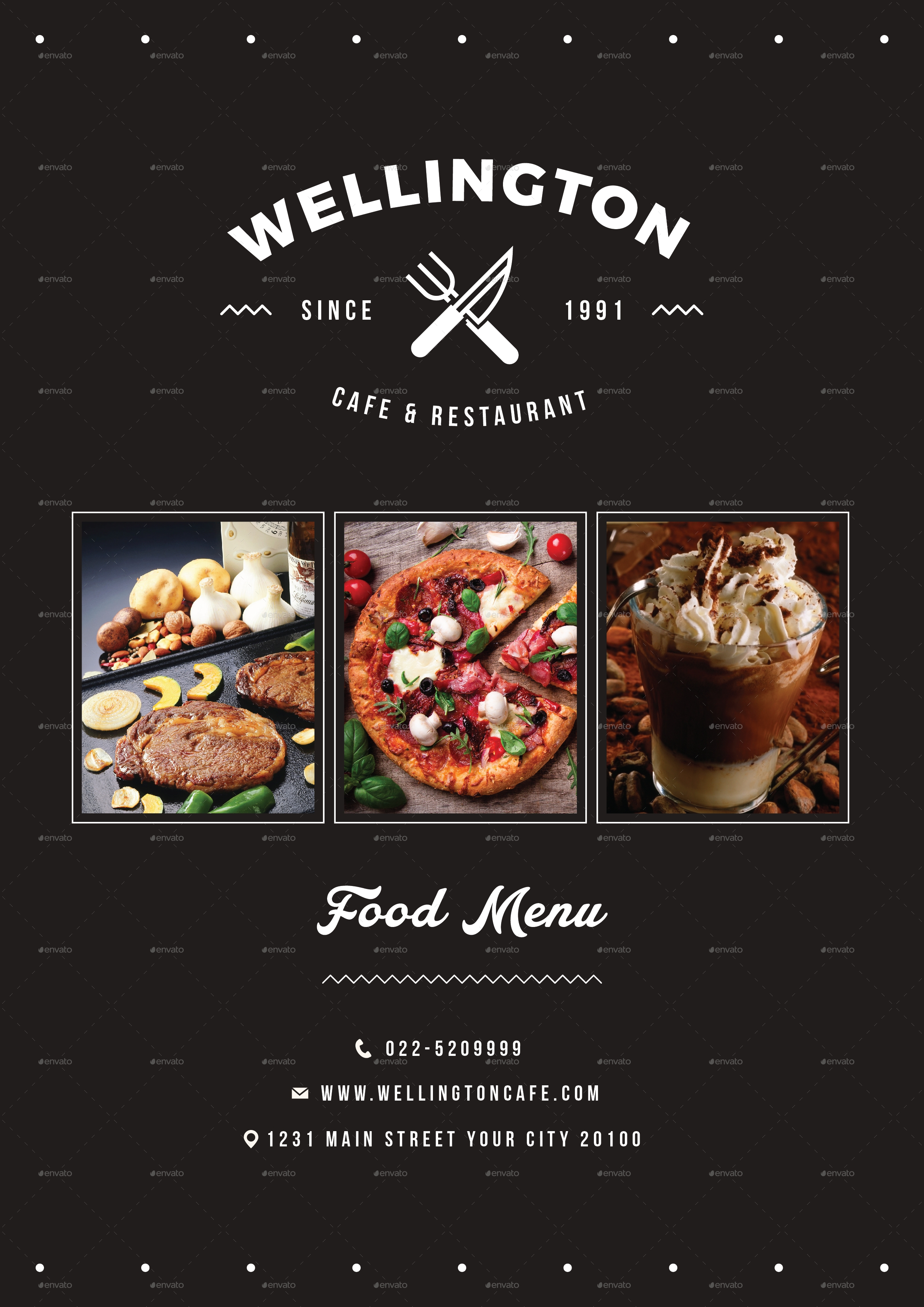 minimalist restaurant food menu package