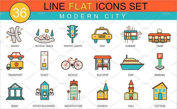 modern city flat icons
