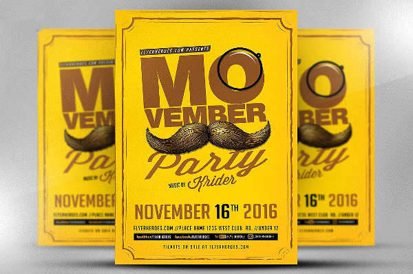 Movember Retro Party Flyer