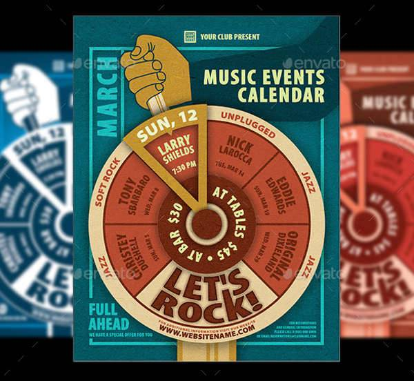 music events calendar poster