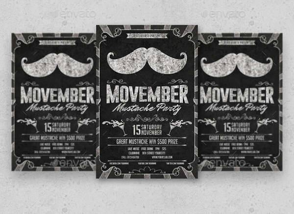 Mustache Party Chalkboard Flyer