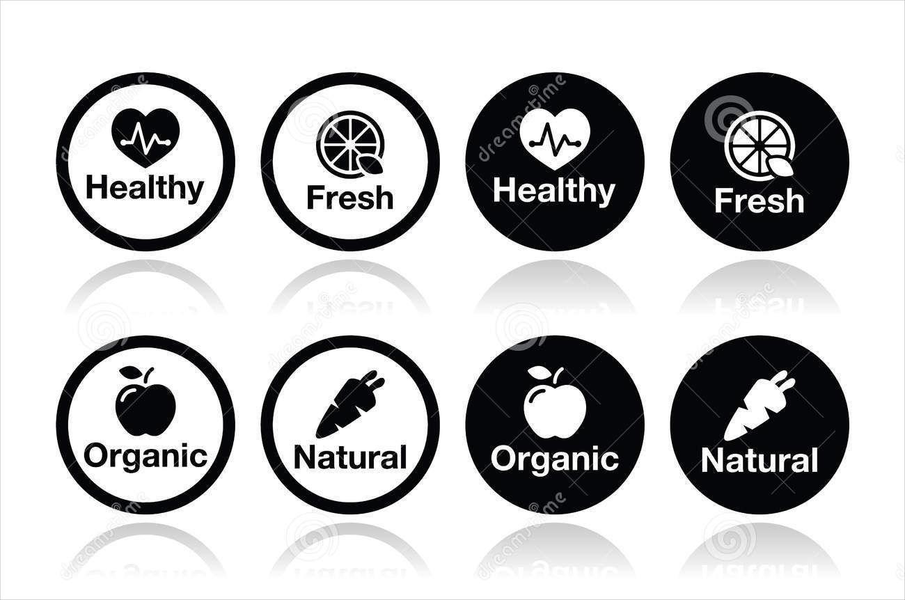 natural food icons set