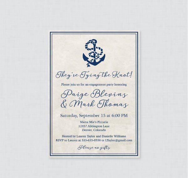 Nautical Engagement Party Invitation