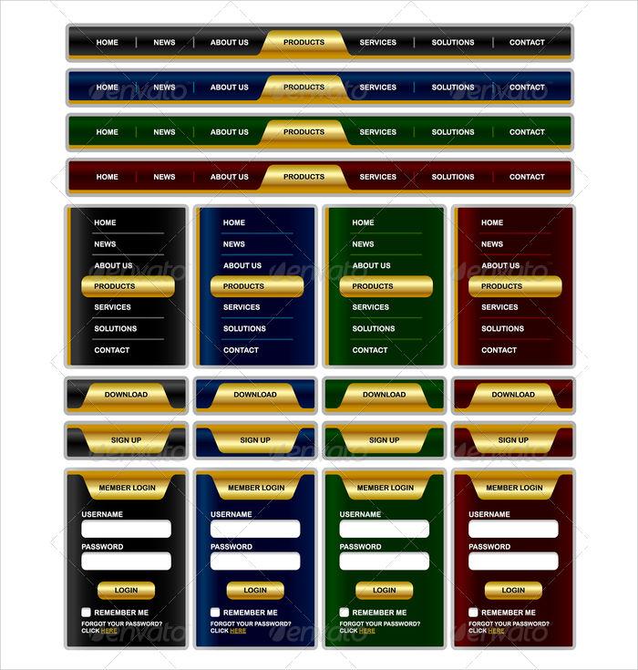navigation menu website elements
