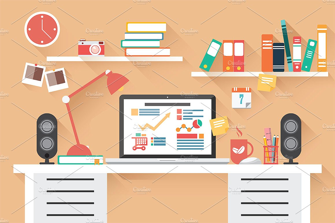 22 flat illustrations design trends premium psd for Office design vector