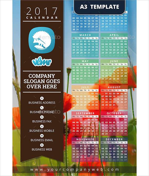 one page calendar design template