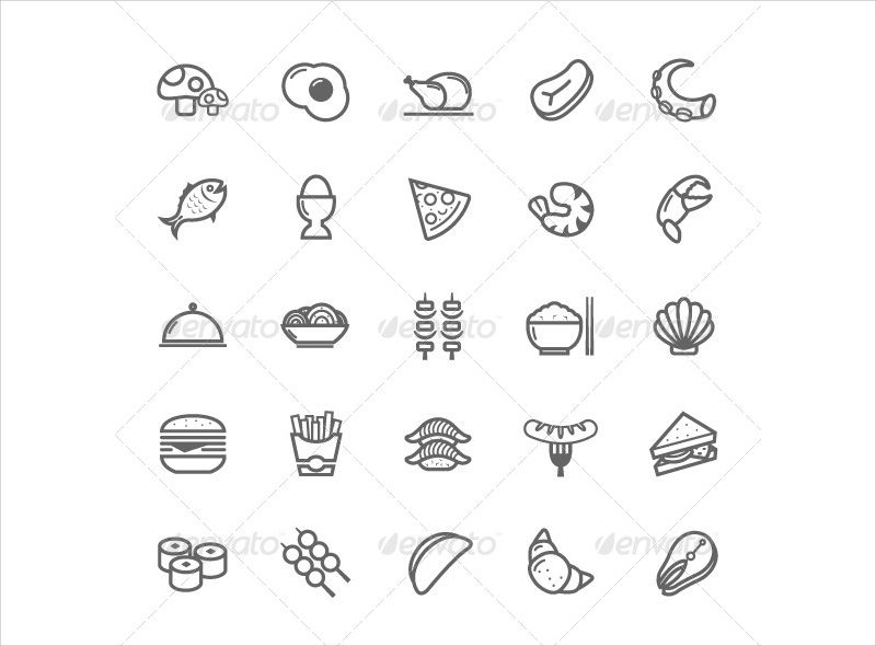 outline stroke food icons