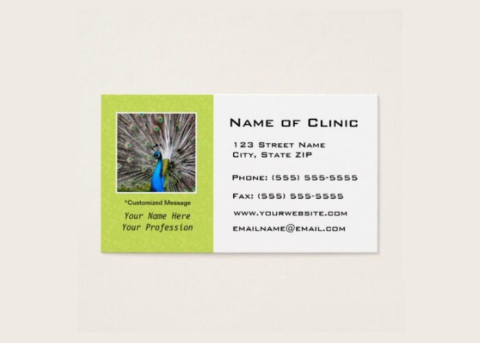 peacock businessappointment card
