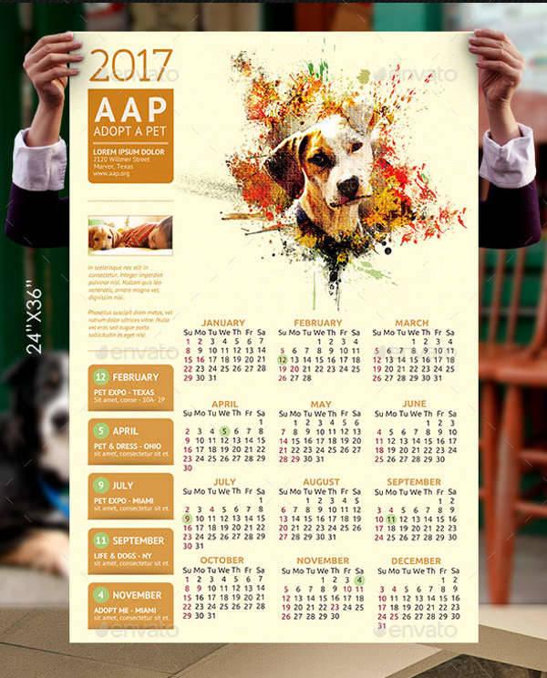 Pet Agency Poster Calendar