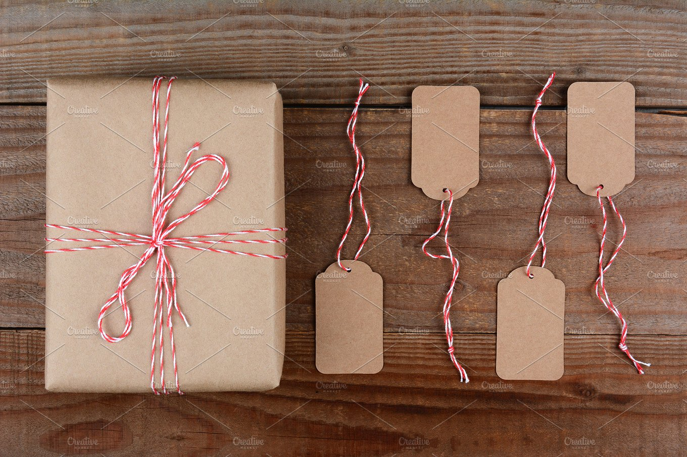 plain wrapped package and gift tags