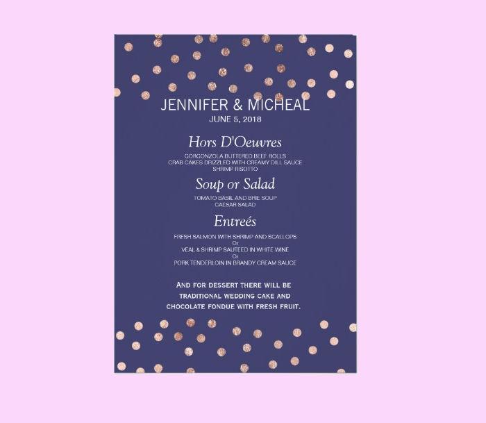 polka dot menu card