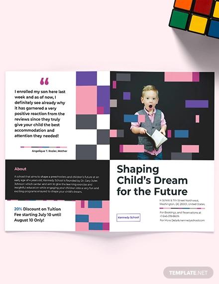 preschool promotional bi fold brochure template