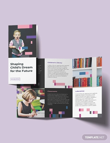 preschool promotional tri fold brochure template