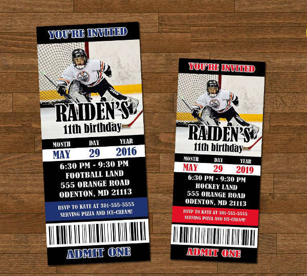 Printable Ticket Hockey Invitation