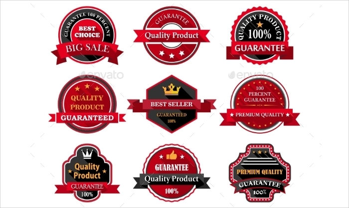 product labels badges
