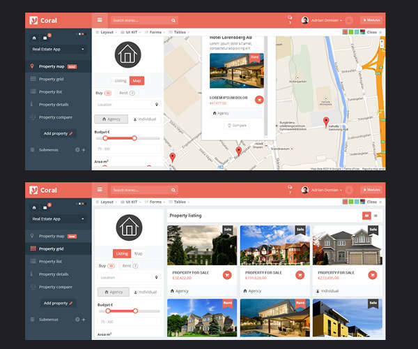 real estate admin panel template